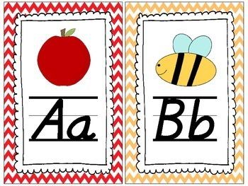 D'Nealian (Primary Italics) Chevron Alphabet Posters