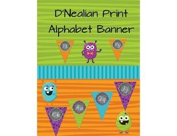 D'Nealian Print Alphabet Banner