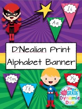 D'Nealian Print Alphabet Banner Superheroes