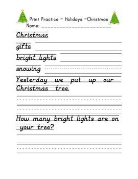 D'Nealian Print Handwriting Practice Packet - Holidays