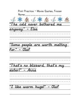 D'Nealian Print Handwriting Practice Packet - Movie Quotes