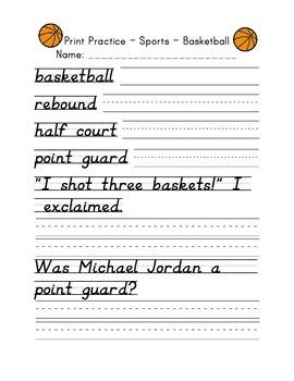 D'Nealian Print Handwriting Practice Packet - Sports