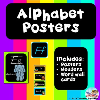 D'Nealian Style Alphabet Posters with Word Wall