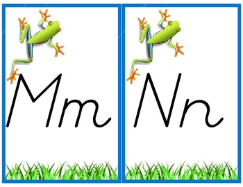 D'Nealian Style Frog Themed Alphabet Posters