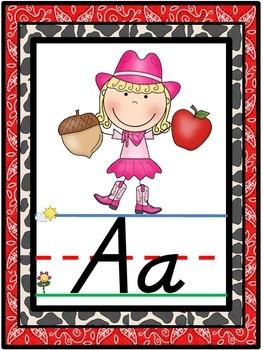 D'Nealian Western Cowboy Themed Alphabet Line {Classroom Decor}