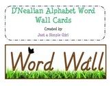 D'Nealian Word Wall Alphabet Cards- Nature theme