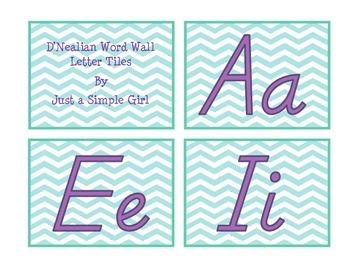 D'Nealian Word Wall Alphabet Cards (chevron)