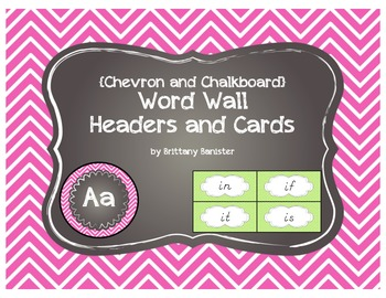 D'Nellian Chevron Word Wall Headers and Sight Word Cards with a Chalkboard Flare