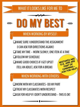 DO MY BEST! Poster For Classroom or Individual