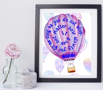 DO NOT STOP, Inspirational Quote by Aristotle with Hot Air Balloons