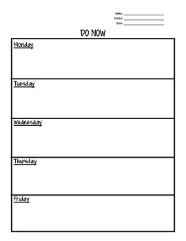 DO NOW Warm-up Templates (Blank)