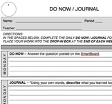 DO NOW / end of the lesson JOURNAL