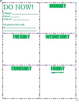 DO NOW (weekly template)