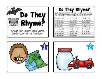 26 DO THEY RHYME? Cards for Scoot, Task Cards, Centers, or Write the Room