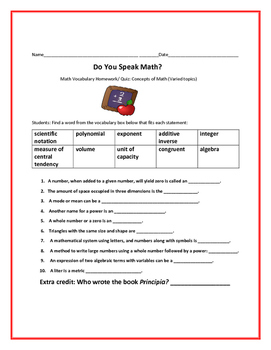 DO YOU SPEAK MATH? A MATH VOCABULARY ACTIVITY