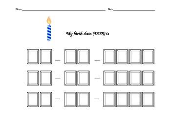 DOB Birthdate Fill-In Worksheet
