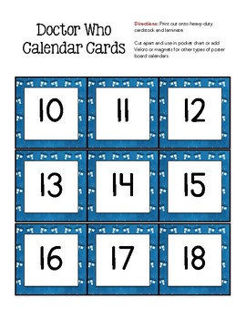 DOCTOR WHO Inspired Calendar Set
