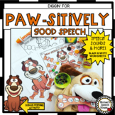 DOG DIGGIN' speech therapy worksheets FEED THE ANIMAL EASY
