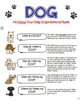 D.O.G. {Daily Organizational Guide} School-to-Home Communication Folder