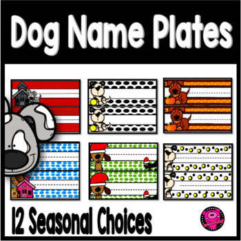 DOGS THEME NAME PLATES FOR ALL YEAR