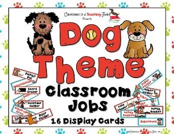 DOG Theme Classroom Jobs Display Cards Set