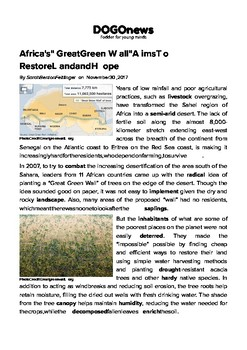 """DOGOnews worksheets - Africa's """"Great Green Wall"""" Aims To Restore Land and Hope"""