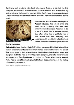 DOGOnews worksheets - Ancient Human Ancestor Little Foot Debuts In South Africa