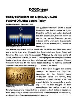 DOGOnews worksheets - Hanukkah, The Eight-Day Jewish Festival Of Lights Begins
