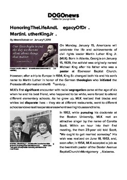 DOGOnews worksheets - Honoring The Life And Legacy Of Dr. Martin Luther King Jr.