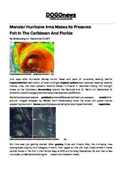 DOGOnews worksheets - Monster Hurricane Irma Makes Its Presence Felt