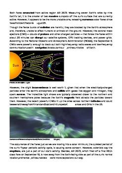 DOGOnews worksheets - Largest Solar Flare Causes Disruption Sparks Auroras