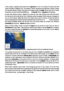 DOGOnews worksheets - Powerful 7.1 Magnitude Earthquake Rocks Central Mexico
