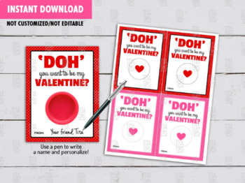 DOH you want to be my Valentine? Play Dough Card DIY Printable, Gift Ideas