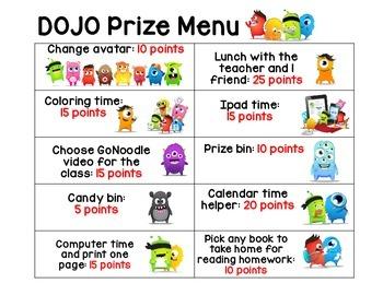 DOJO Prize Menu