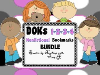 DOK 1, 2, 3 & 4 Nonfictional Question Bookmark Bundle w/ Starter Questions