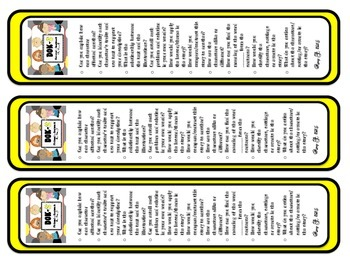 DOK 2 Fictional Bookmarks w/Starter Questions for Critical/High Order Thinking