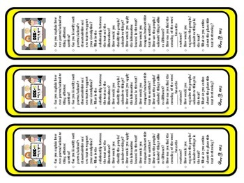 DOK2 Nonfictional Bookmarks w/Starter Questions for Critical/High Order Thinking