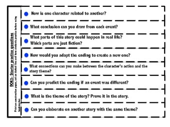 DOK 3 Fictional Bookmarks w/Starter Questions for Critical/High Order Thinking