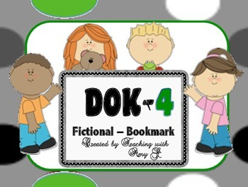 DOK 4 Fictional Bookmarks w/Starter Questions for Critical/High Order Thinking