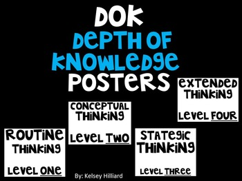 DOK (Level 1-4) posters for bulletin boards  (Depth of Knowledge)