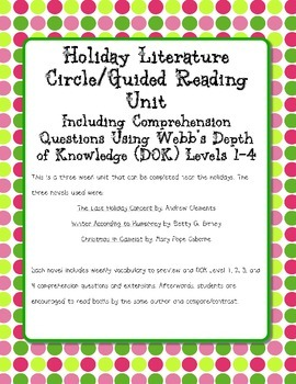DOK Novel Study Last Holiday Concert Christmas Camelot Winter According Humphrey