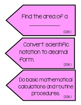 DOK Task Cards:  Math and Science Edition!