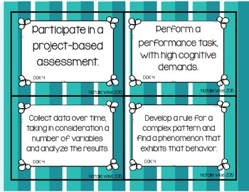 DOK Task Cards:  Math and Science Edition! colorful version