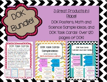 DOK Task Cards, Posters,Idea Starters  BUNDLE 3 Products in 1! 120 pages of DOK!