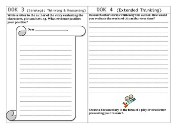 DOK activities for any story (Webb's Depth of Knowledge 1-4)