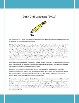 DOL (Daily Oral Language) Assessments
