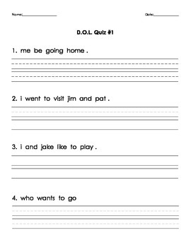 DOL (Daily Oral Language) Quizzes to go with Carson-Dellosa Workbook