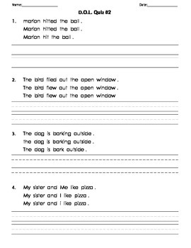 DOL (Daily Oral Language) Quizzes to go with Carson-Dellosa Workbook