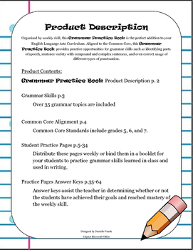 DOL Grammar Practice Book: Aligned to the Common Core ELA Standards