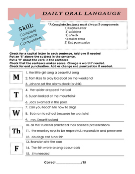DOL: Complete Sentence Components